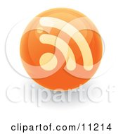 Orange RSS Symbol On A Ball Or Button Clipart Illustration