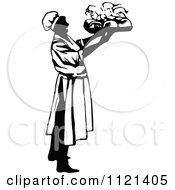 Clipart Of A Retro Vintage Black And White Male Chef Carrying A Platter 1 Royalty Free Vector Illustration