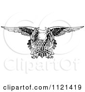 Clipart Of A Retro Vintage Black And White Bald Eagle And American Shield Royalty Free Vector Illustration