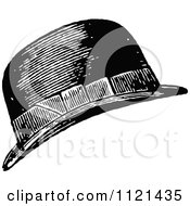 Clipart Of A Retro Vintage Black And White Mans Hat Royalty Free Vector Illustration