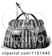 Clipart Of A Retro Vintage Black And White Bobber And Hook With A Fishing Basket Royalty Free Vector Illustration