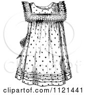 Clipart Of A Retro Vintage Black And White Girls Dress Royalty Free Vector Illustration