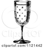 Clipart Of A Retro Vintage Black And White Glass Goblet 1 Royalty Free Vector Illustration