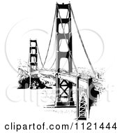 Clipart Of A Retro Vintage Black And White Golden Gate Bridge Royalty Free Vector Illustration by Prawny Vintage #COLLC1121444-0178