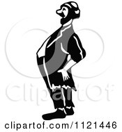 Clipart Of A Retro Vintage Black And White Hobo Man Laughing Royalty Free Vector Illustration
