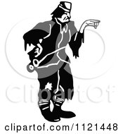 Clipart Of A Retro Vintage Black And White Hobo Man 2 Royalty Free Vector Illustration