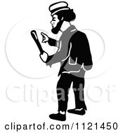 Clipart Of A Retro Vintage Black And White Hobo Man 3 Royalty Free Vector Illustration by Prawny Vintage