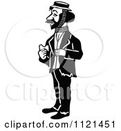 Clipart Of A Retro Vintage Black And White Hobo Man 4 Royalty Free Vector Illustration