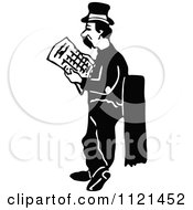 Clipart Of A Retro Vintage Black And White Hobo Man Looking For A Job Royalty Free Vector Illustration