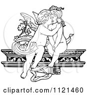 Clipart Of Retro Vintage Black And White Cherubs Kissing On A Shelf Royalty Free Vector Illustration