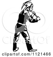 Clipart Of A Retro Vintage Black And White Klondiker Gold Rush Miner Man With A Pickaxe Royalty Free Vector Illustration by Prawny Vintage