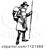 Clipart Of A Retro Vintage Black And White Klondiker Gold Rush Miner Man With Gear Royalty Free Vector Illustration by Prawny Vintage