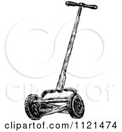 Clipart Of A Retro Vintage Black And White Cylinder Lawn Mower Royalty Free Vector Illustration