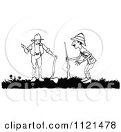 Clipart Of A Retro Vintage Black And White Hunter And Lumberjack Royalty Free Vector Illustration by Prawny Vintage