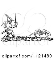 Clipart Of A Retro Vintage Black And White Man Battling A Giant Spider Royalty Free Vector Illustration by Prawny Vintage