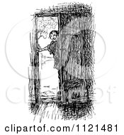 Clipart Of A Retro Vintage Black And White Man At A Door Royalty Free Vector Illustration