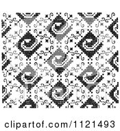 Clipart Of A Retro Vintage Black And White Needlepoint Pattern Royalty Free Vector Illustration by Prawny Vintage