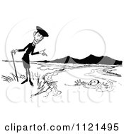 Clipart Of A Retro Vintage Black And White Man Pointing At A Boy Drowning Royalty Free Vector Illustration
