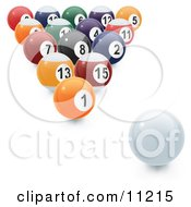 An 8 Ball Rack Of Numbered Pool Balls And The Cue Ball Ready To Be Broken Clipart Illustration