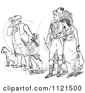 Clipart Of Retro Vintage Black And White People Watching A Scene In A Street Royalty Free Vector Illustration