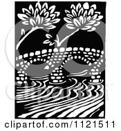Clipart Of A Retro Vintage Black And White Arched Bridge Over A River Royalty Free Vector Illustration