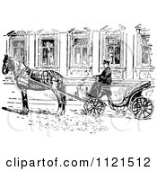 Clipart Of A Retro Vintage Black And White Russian Droshky Carriage Royalty Free Vector Illustration by Prawny Vintage