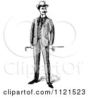 Clipart Of A Retro Vintage Black And White Gentleman Holding A Cane Royalty Free Vector Illustration by Prawny Vintage