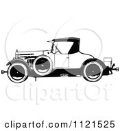 Clipart Of A Retro Vintage Black And White Vintage Car Royalty Free Vector Illustration