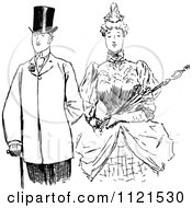 Clipart Of A Retro Vintage Black And White Victorian Couple 2 Royalty Free Vector Illustration