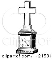 Clipart Of A Retro Vintage Black And White Cross Graveyard Memorial Royalty Free Vector Illustration by Prawny Vintage