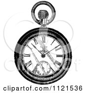 Clipart Of A Retro Vintage Black And White Pocket Watch Royalty Free Vector Illustration