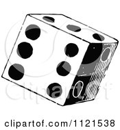 Clipart Of A Retro Vintage Black And White Dice Royalty Free Vector Illustration