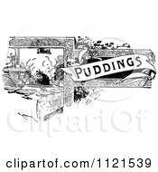 Clipart Of A Retro Vintage Black And White Puddings Recipe Book Design Royalty Free Vector Illustration