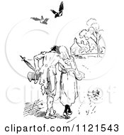 Clipart Of Retro Vintage Black And White Birds Above A Walking Couple Royalty Free Vector Illustration