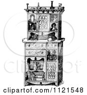 Clipart Of A Retro Vintage Black And White Flemish Cabinet Royalty Free Vector Illustration