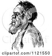 Retro Vintage Black And White Aboriginal Man In Profile