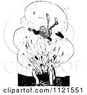 Clipart Of A Retro Vintage Black And White Man In An Explosion Royalty Free Vector Illustration