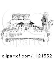 Clipart Of A Retro Vintage Black And White Butler Beside A Table Royalty Free Vector Illustration