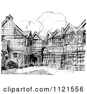 Clipart Of A Retro Vintage Black And White Elizabethan Facade Royalty Free Vector Illustration
