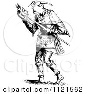 Clipart Of A Retro Vintage Black And White Court Jester 2 Royalty Free Vector Illustration