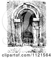 Clipart Of A Retro Vintage Black And White Arched Church Doorway Royalty Free Vector Illustration by Prawny Vintage