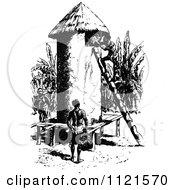 Retro Vintage Black And White Aboriginals And Grain Hut