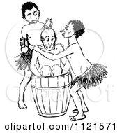 Retro Vintage Black And White Aboriginals Bathing
