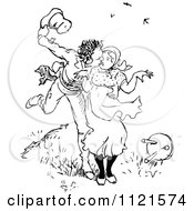 Clipart Of A Retro Vintage Black And White Man Scaring A Woman And Kissing Her Royalty Free Vector Illustration