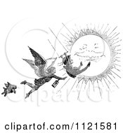 Clipart Of A Retro Vintage Black And White Grim Reaper Chasing A Swinging Man Over The Sun Royalty Free Vector Illustration