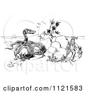 Clipart Of Retro Vintage Black And White People Running From A Giant Snake Eating A Large Animal Royalty Free Vector Illustration by Prawny Vintage