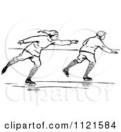 Clipart Of Retro Vintage Black And White Men Ice Skating Royalty Free Vector Illustration
