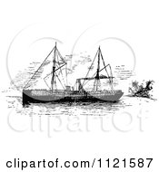 Clipart Of A Retro Vintage Black And White Ship Royalty Free Vector Illustration by Prawny Vintage