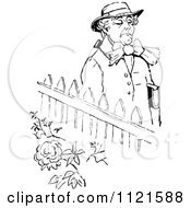 Clipart Of A Retro Vintage Black And White Snooty Man Walking By A Garden Royalty Free Vector Illustration by Prawny Vintage
