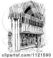 Clipart Of A Retro Vintage Black And White Facade Of St Albans Abbey Royalty Free Vector Illustration by Prawny Vintage